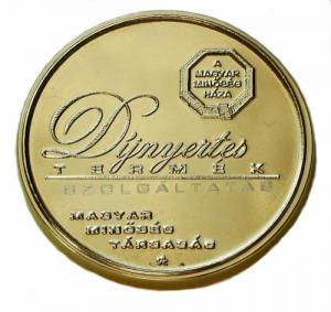 Magyar Minőség Háza díj érme