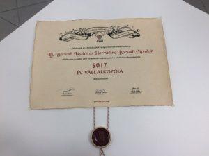 2017. év vállalkozója díj